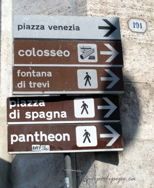 Handy signs at Piazza del Popolo