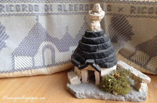 Alberobello souvenirs.  A linen towel and my very own very cute trullo.  I bought it the first time I visited Alberobello.  It's made of real limestone and chiancharelle.