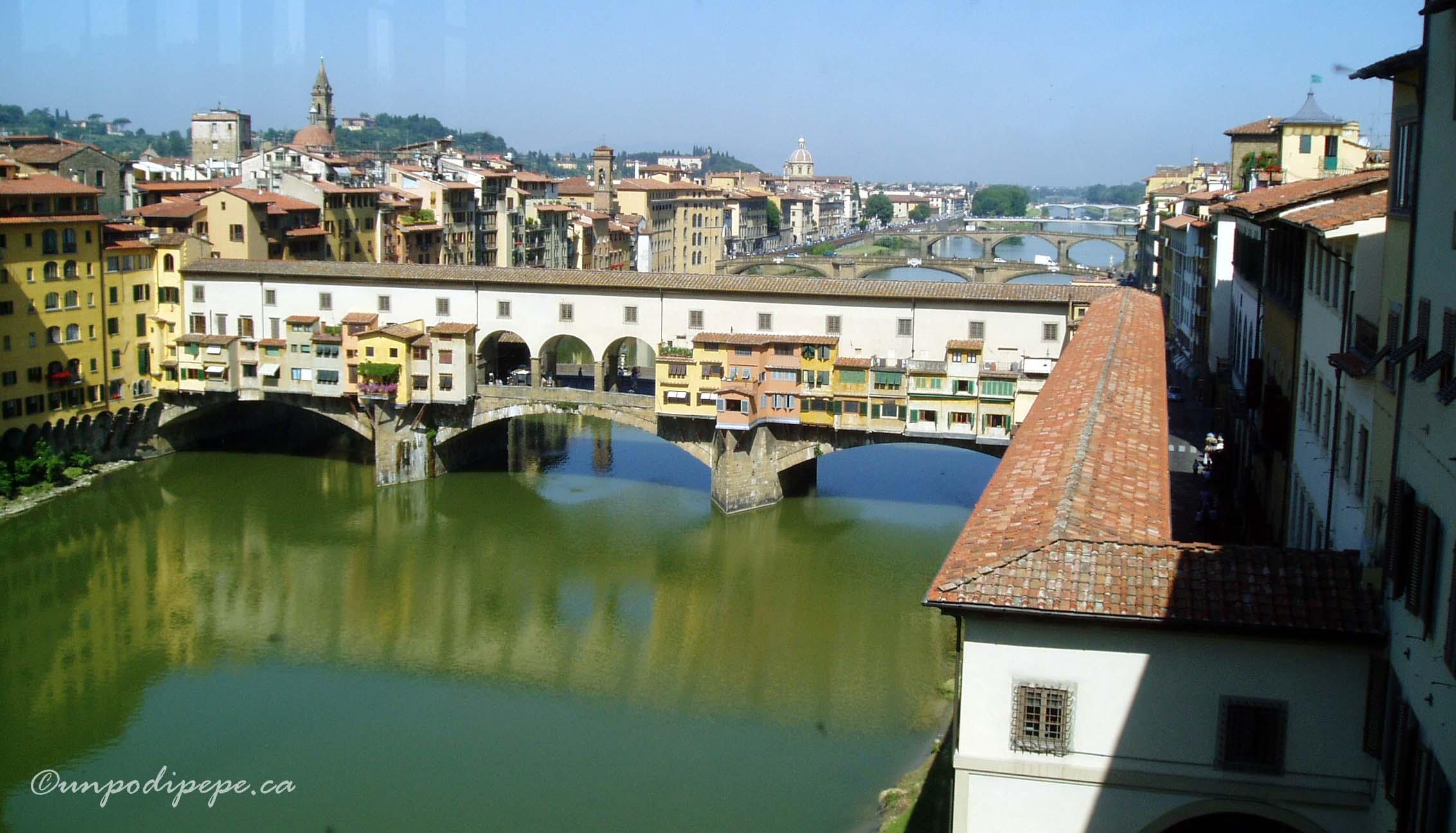 Vista dalla finestra degli Uffizi/View of the Ponte Vecchio from a window in the Uffizi Gallery