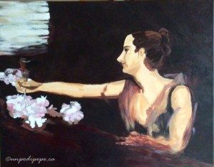 Madame Gautreau Drinking a Toast. After John Singer Sargent. Cristina Pepe 2016