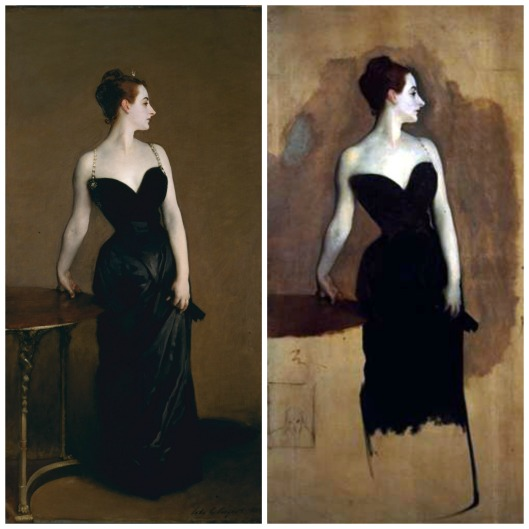 'Madame X' Metropolitan Museum of Art and 'Unfinished Madame X' Tate Gallery. Images Wikimedia Commons