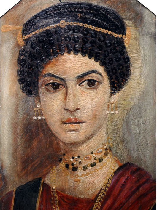 Exquisite mummy portrait in encaustic wax on wood panel, Hawara, Middle Egypt, 120 AD. Photo National Museum of Scotland