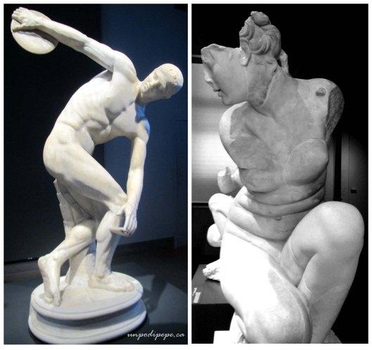 Il Discobolo and a Crouching Aphrodite from Villa Adriana in Tivoli. Both are Roman reproductions of Greek originals