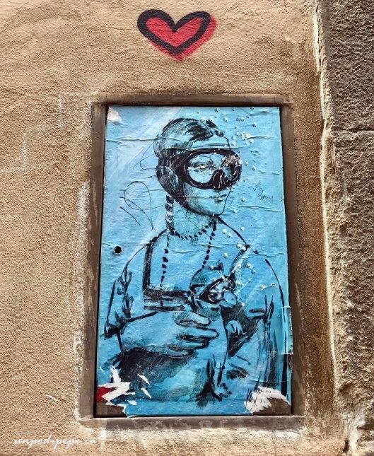 Blub Leonardo Da Vinci Donna con l'ermellino Firenze street art