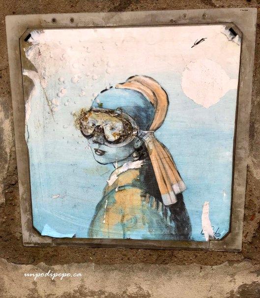 Ragazza con l'orecchina di perla Blub street artist Firenze, Girl with a pearl earring