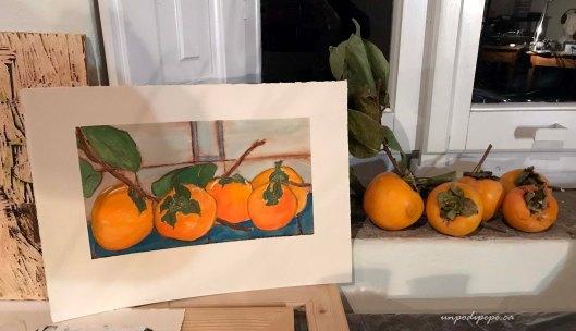 Cachi persimmon painting Casa Berti Lucca