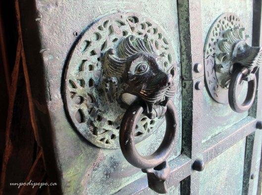 Troia Cathedral bronze door lion door knockers