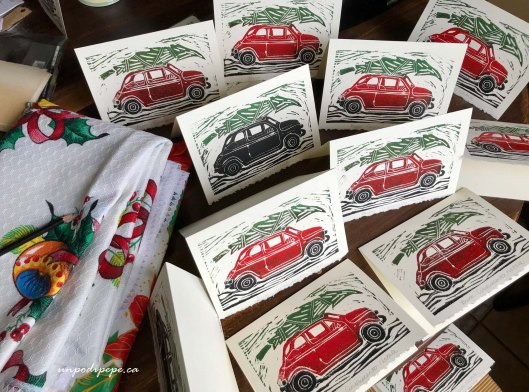 Linocut Christmas cards Fiat 500