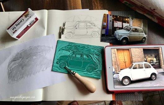 Linocut printmaking Fiat 500