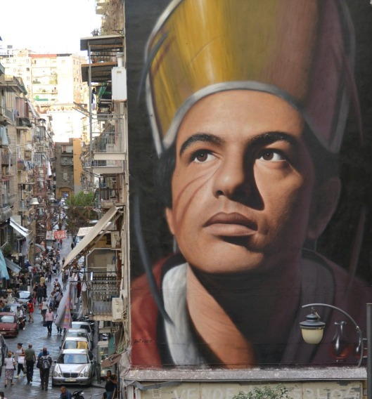 Street portrait of San Gennaro by Jorit Agoch