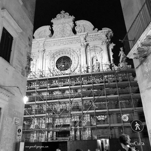 Santa Croce lecce under renovation. Black and white